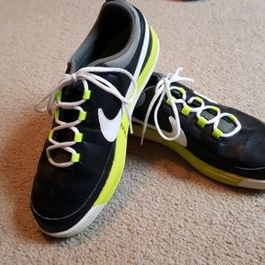 NIKE youth leather black white volt EXCELLENT